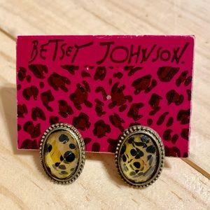 Betsey Johnson Leopard Rhinestone Jewel Earrings